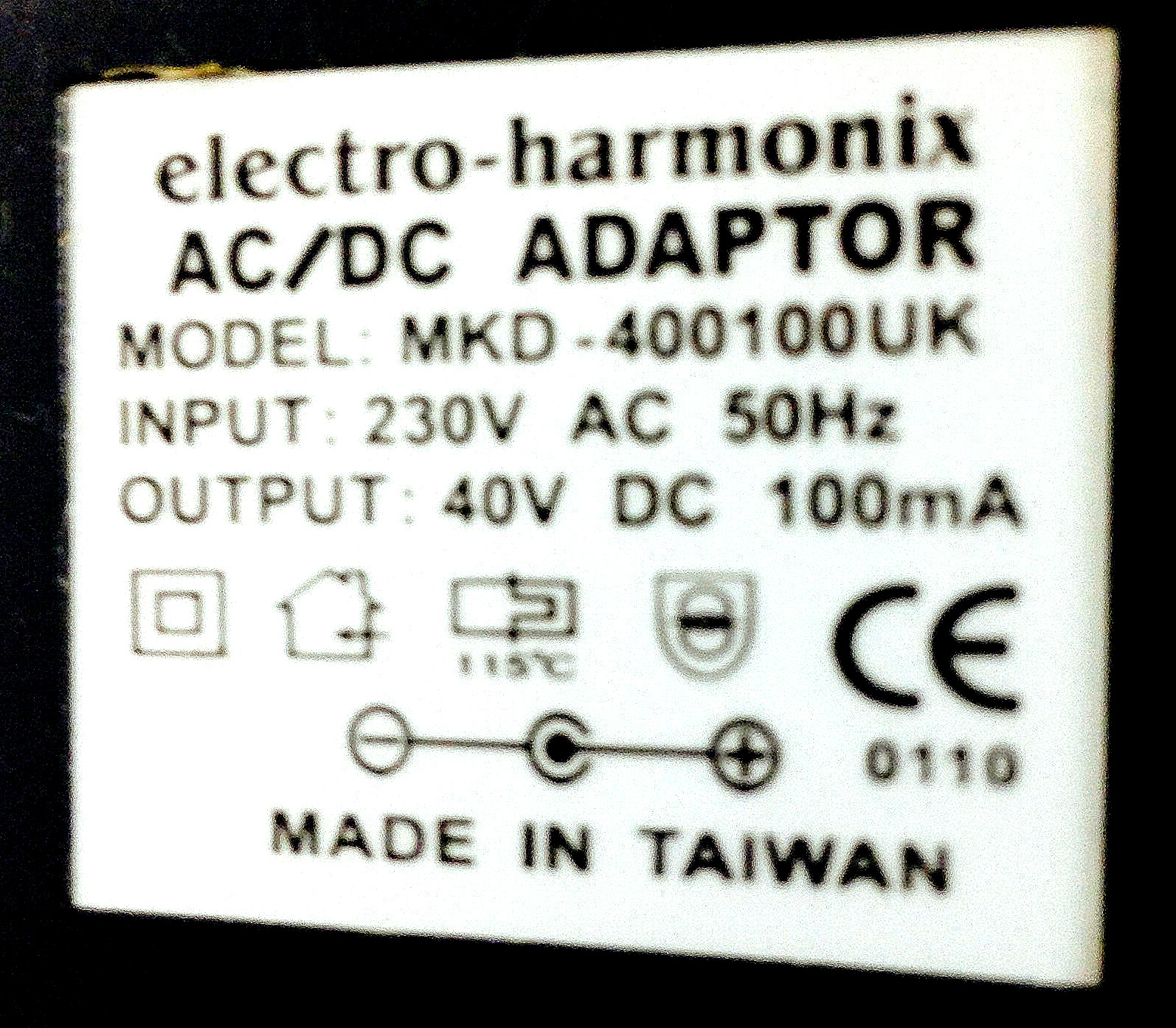 Electro Harmonix Uk 40v Dc 100ma Power Supply